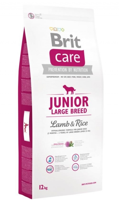 Brit Care Hipo-allergenic Junior Large Breed Lamb and Rice kutyatáp (12 kg), táp kutyának, száraz eledel, kutyaeledel