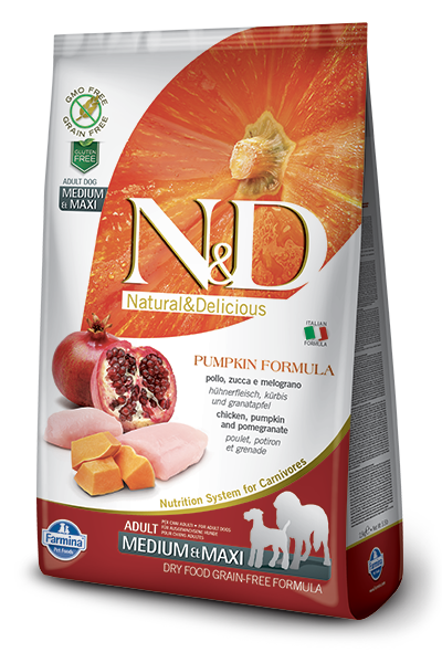 N&D Dog Grain Free Chicken Pumpkin and Pomegranate Adult M/M kutyatáp