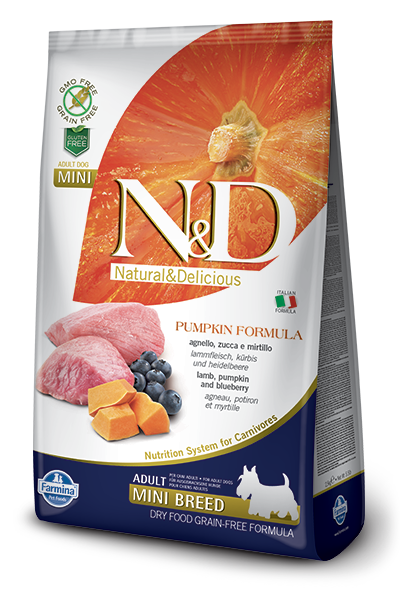 N&D Dog Grain Free Lamb Pumpkin and Blueberry Adult Mini kutyatáp