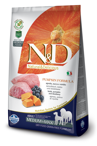 N&D Dog Grain Free Lamb Pumpkin and Blueberry Adult M/M kutyatáp