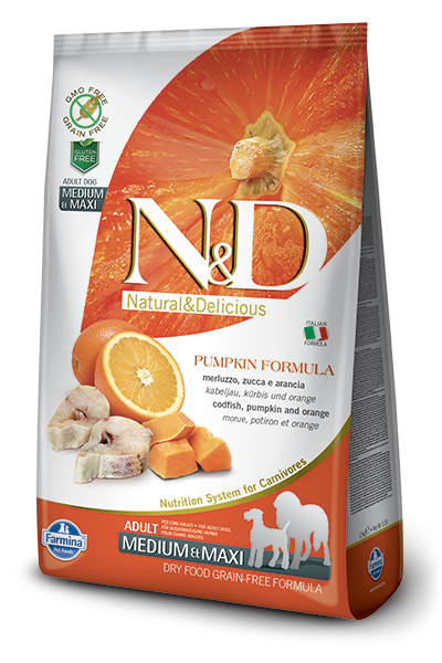 N&D Dog Grain Free Codfish & Orange Pumpkin Adult M/M kutyatáp