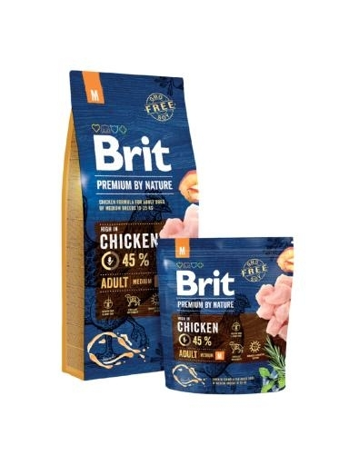 Brit Premium by Nature Adult Medium kutyatáp (2x15 kg)