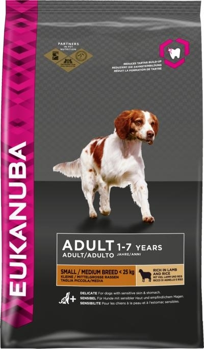 Eukanuba Adult Small and Medium Breed rich in Lamb and Rice kutyatáp (2x12kg)