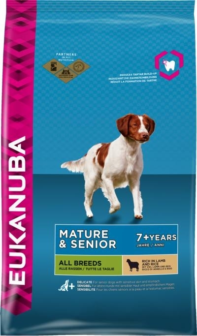 Eukanuba Mature and Senior All Breed rich Lamb and Rice kutyatáp, táp kutya, kutyaeledel
