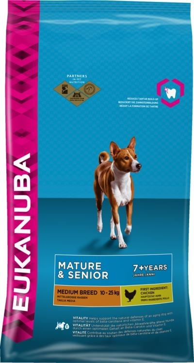 Eukanuba Mature and Senior Medium Breed  kutyatáp , táp kutya, kutyaeledel