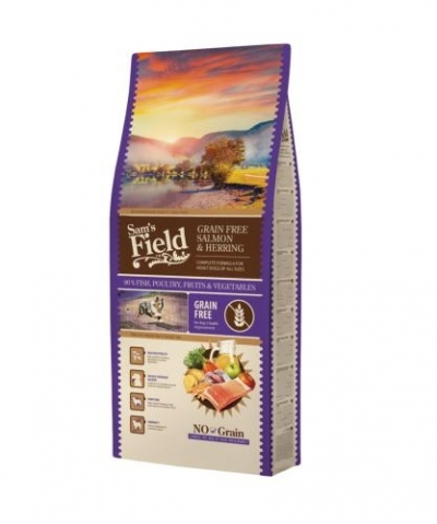 Sam's Field Grain Free Adult Salmon & Herring kutyatáp (13 kg)