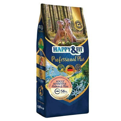 Happy & Fit Professional Plus Adult Sensitive Salmon&Rice kutyatáp (18 kg)