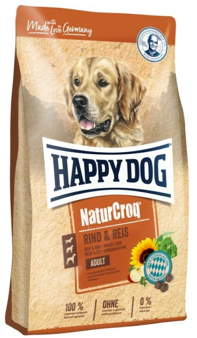 Happy Dog NaturCroq Rind and Reis táp kutyáknak, happy dog kutyatáp
