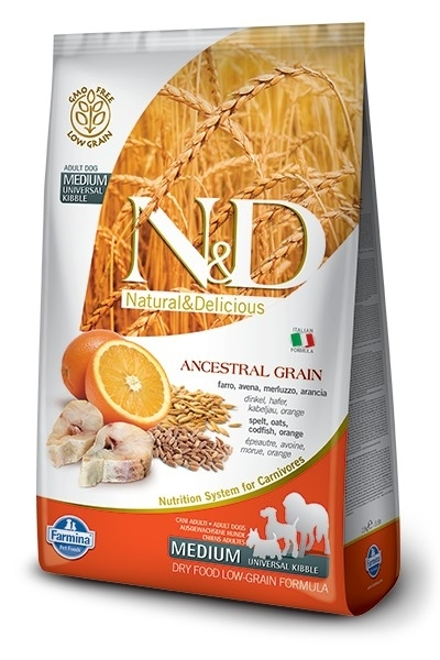N&D Dog Low Grain Adult Medium Codfish & Orange kutyatáp