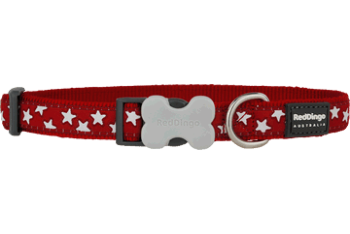 Red Dingo nyakörv Design Stars White on Red