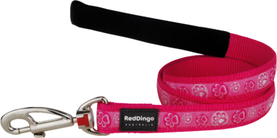 Red Dingo póráz Design Paw Impressioms Hot Pink  (15 mm x 1,2 m)